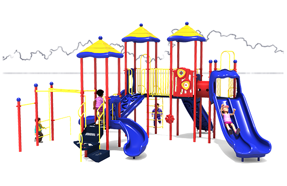 Merry Maker commercial play structure - Primary Color Scheme - Front View