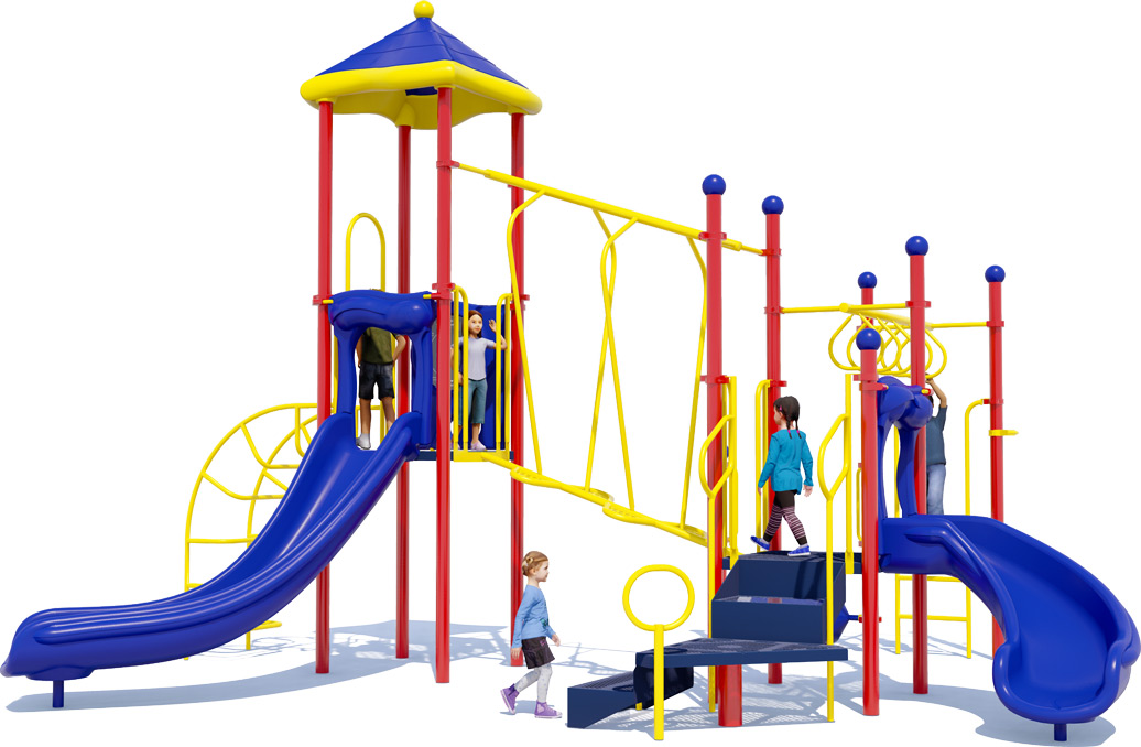 Amazing Adventure Play Structure - Primary Colors - Back View