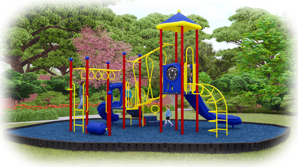Amazing Adventure Playground Bundle - Rubber Mulch - Primary Colors