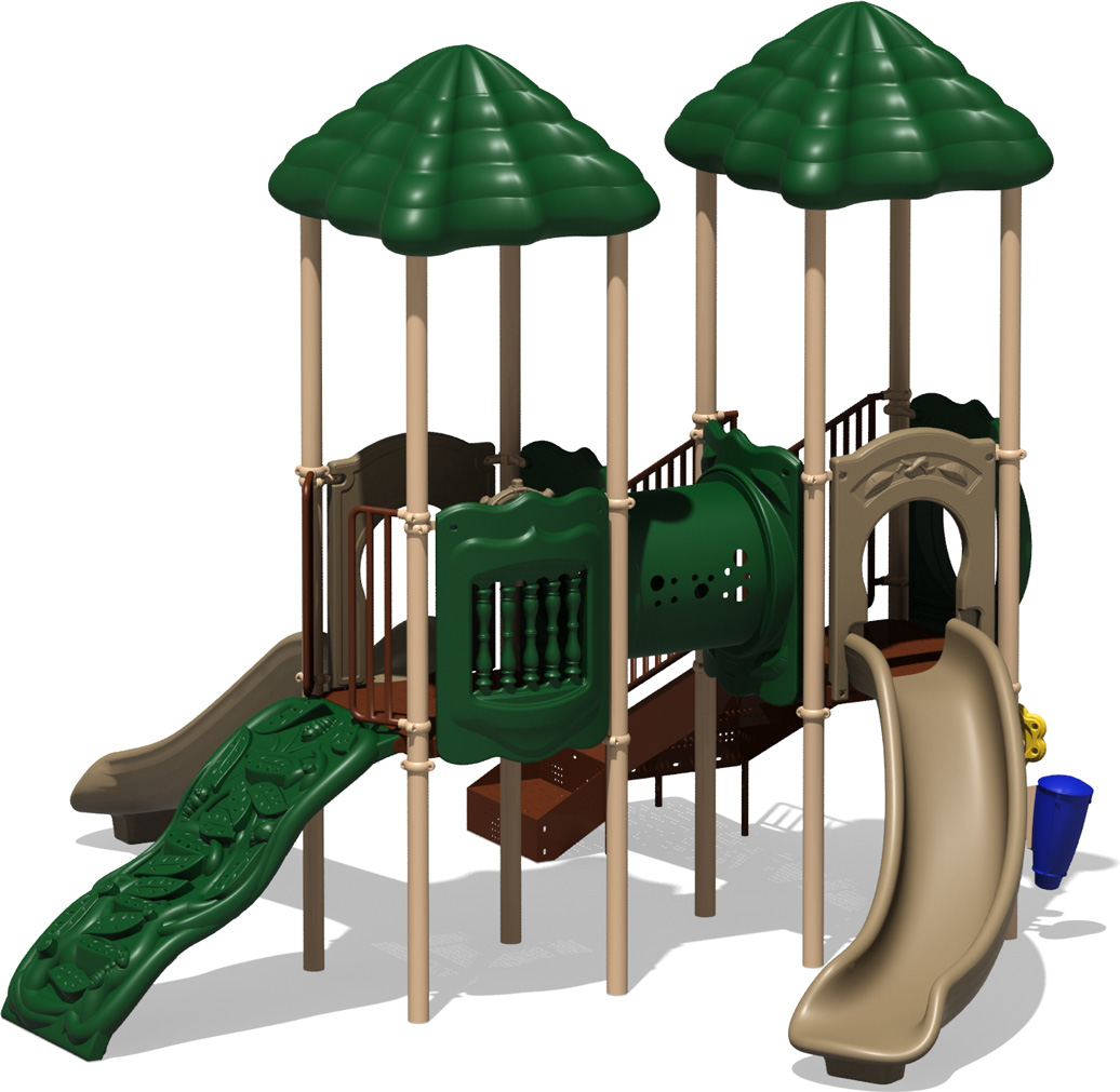 Double Play - Natural Color Scheme - front View - Commercial Play Structure