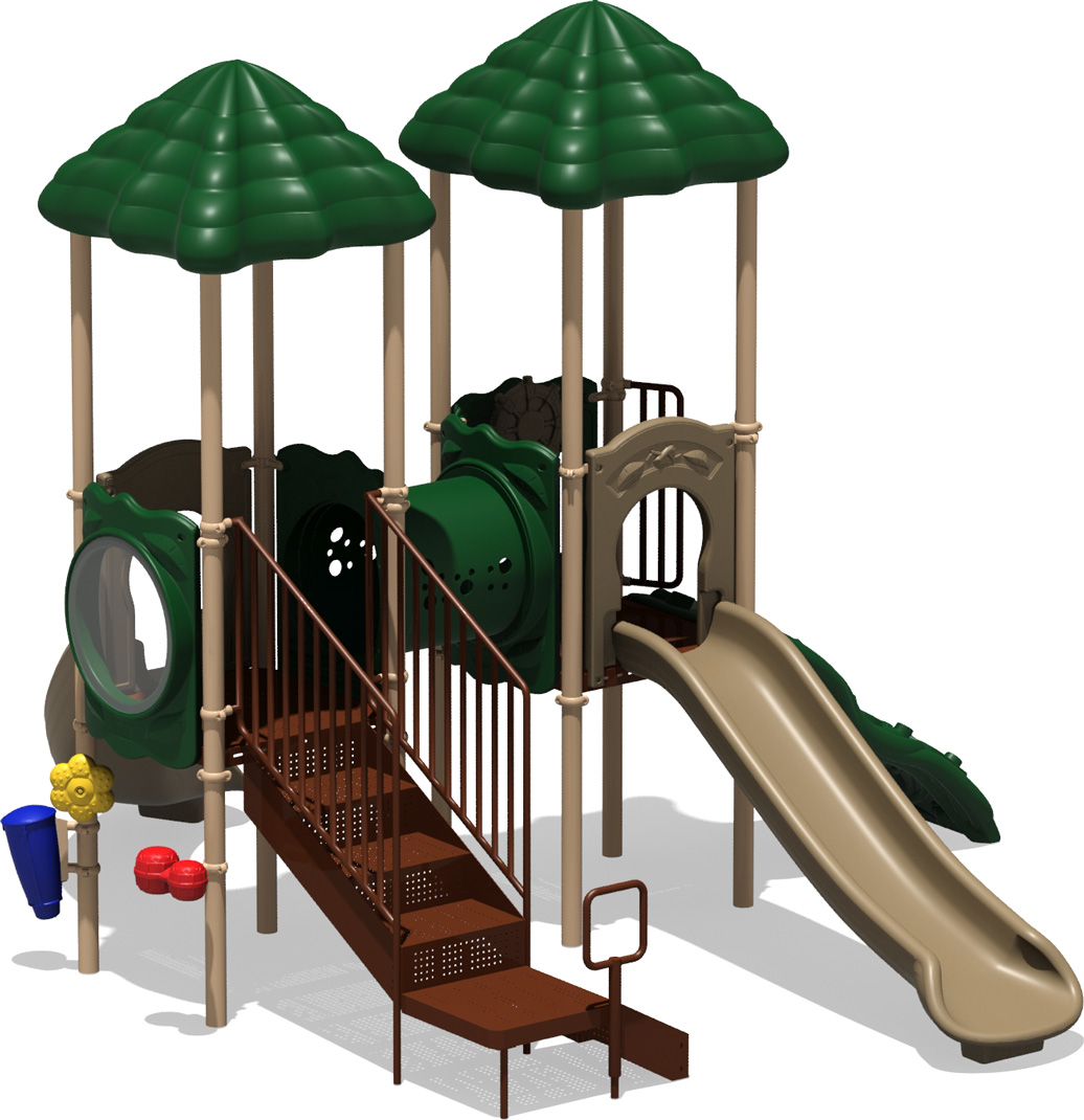 Double Play - natural Color Scheme - back View - Commercial Play Structure