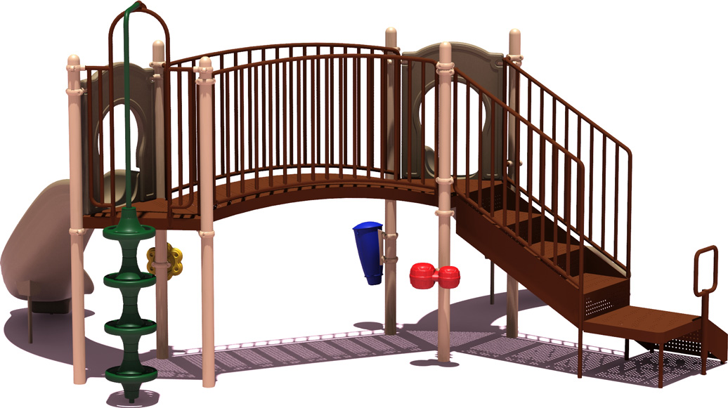 Slugger Play Structure - natural Color Scheme - back View - Commercial Playground Equipment