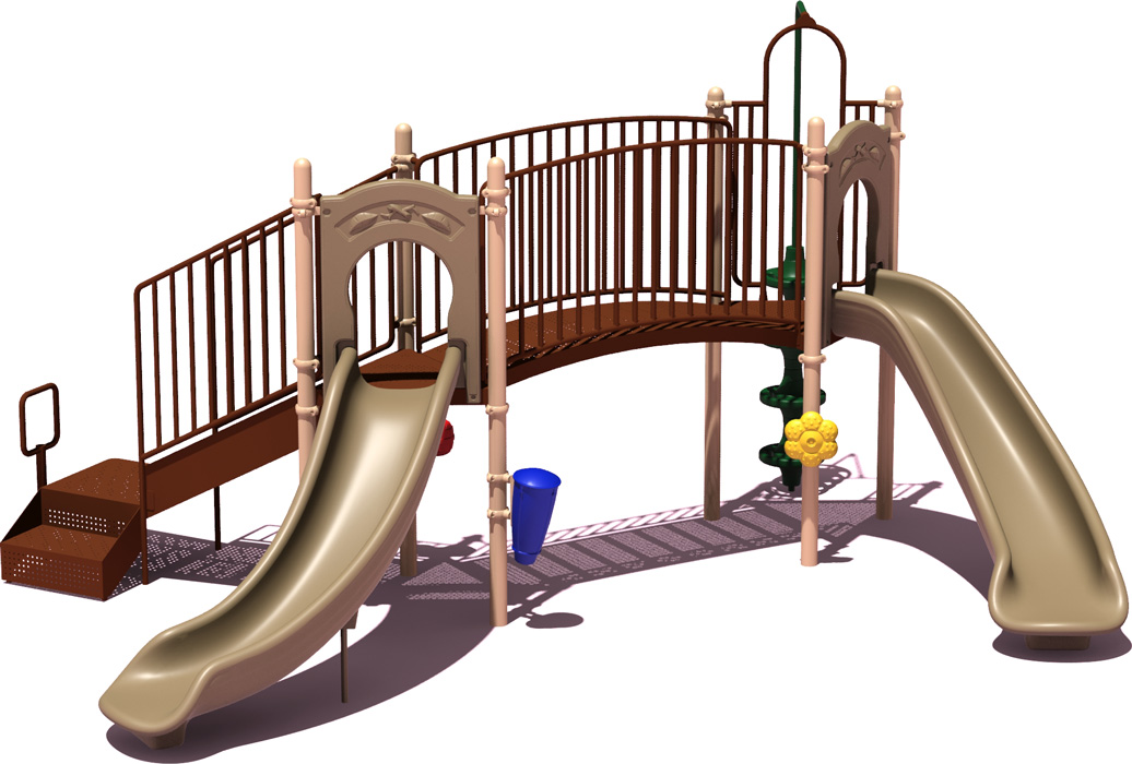 Slugger Play Structure - natural Color Scheme - Front View - Commercial Playground Equipment