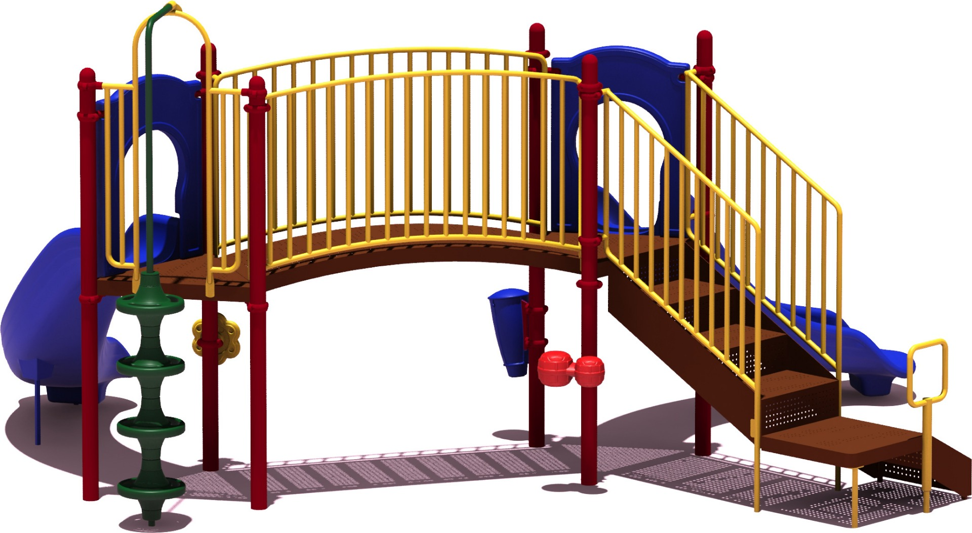 Slugger Play Structure - Primary Color Scheme - back View - Commercial Playground Equipment