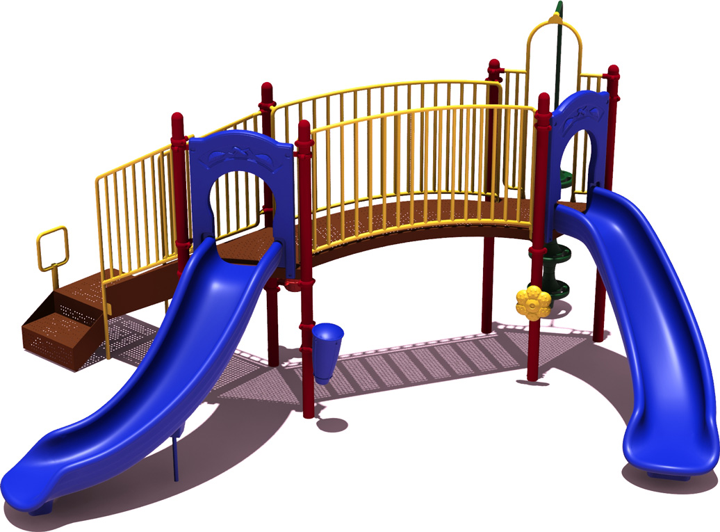 Slugger Play Structure - Primary Color Scheme - Front View - Commercial Playground Equipment