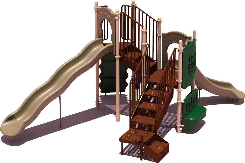 All-Star Budget Playground Equipment - Natural Color Scheme - back View