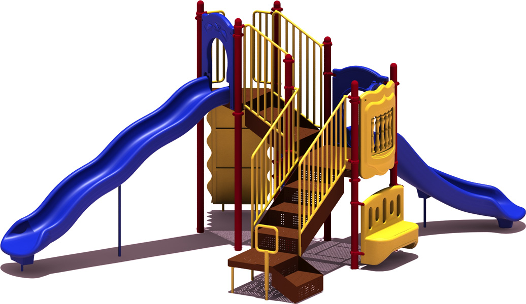 All-Star Budget Playground Equipment - primary Color Scheme - back View