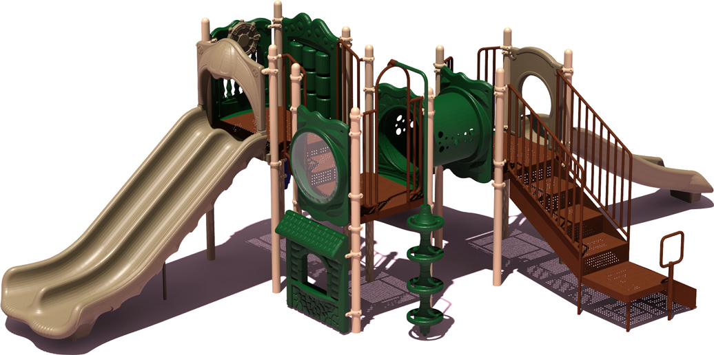 Home Plate Budget Play Structure - natural Color Scheme - Front View