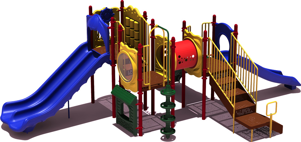 Home Plate Budget Play Structure - primary Color Scheme - back View