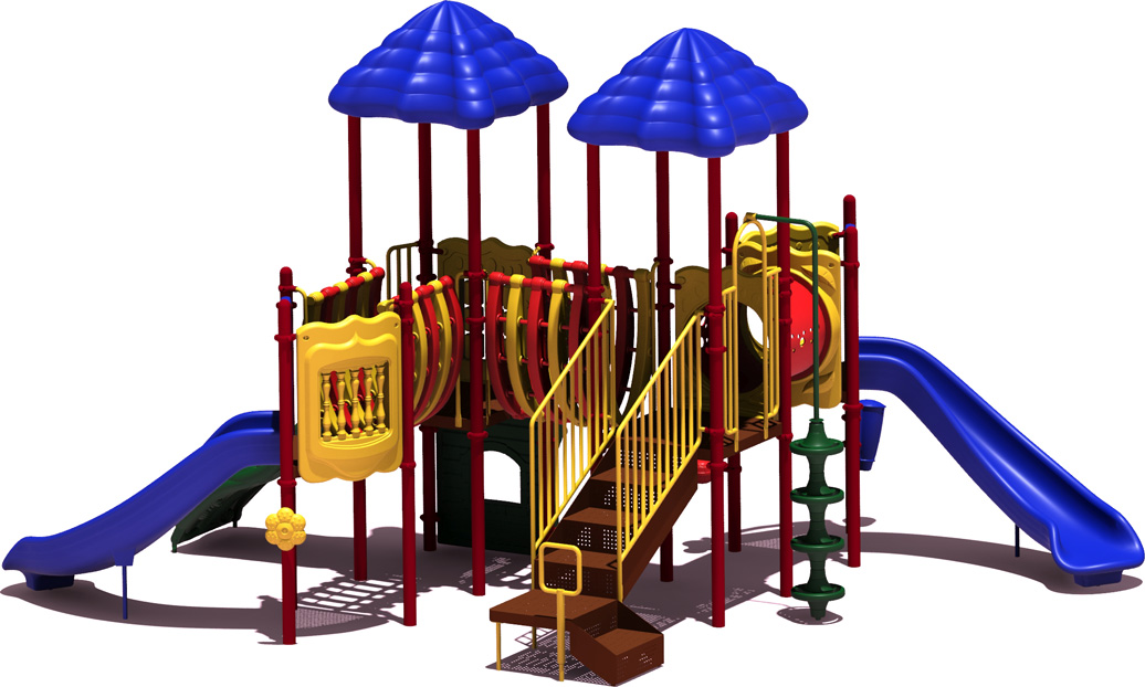 Curve Ball - Primary Color Scheme - back View - Commercial Playground Equipment