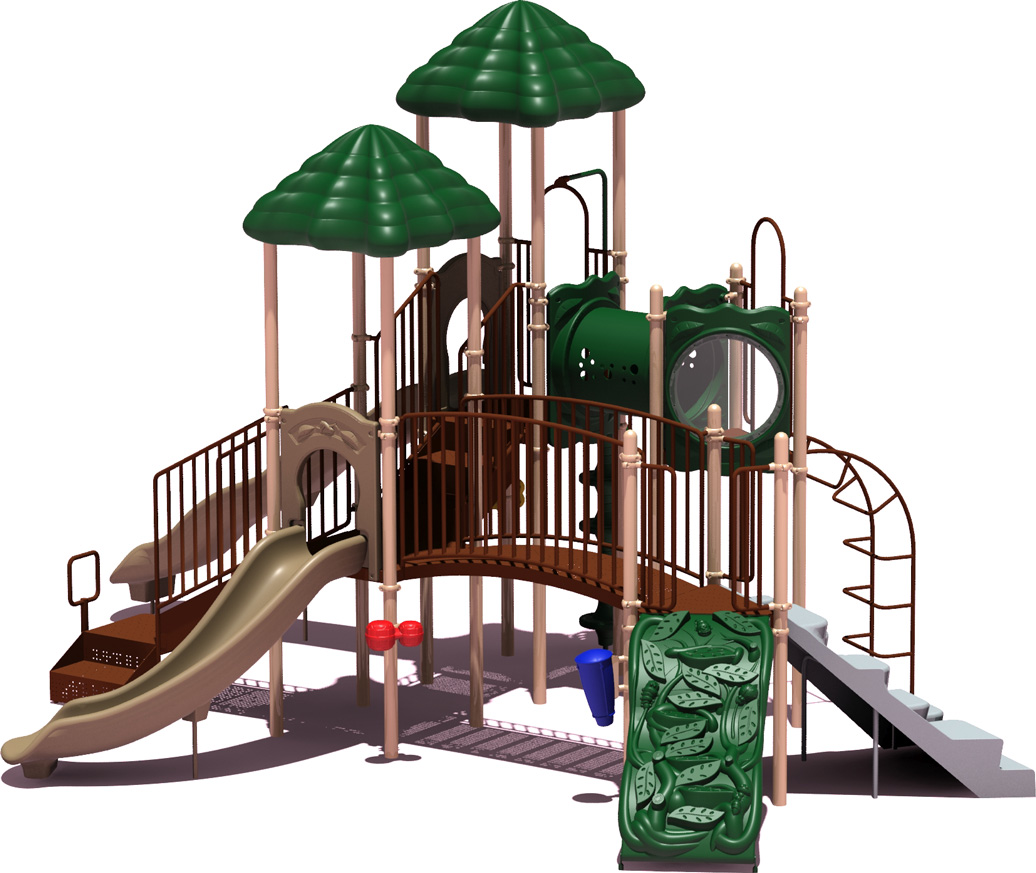 Clingman's Dome Budget Play Structure - natural Color Scheme - Front View