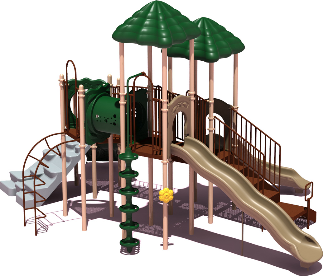 Clingman's Dome Budget Play Structure - natural Color Scheme - back View