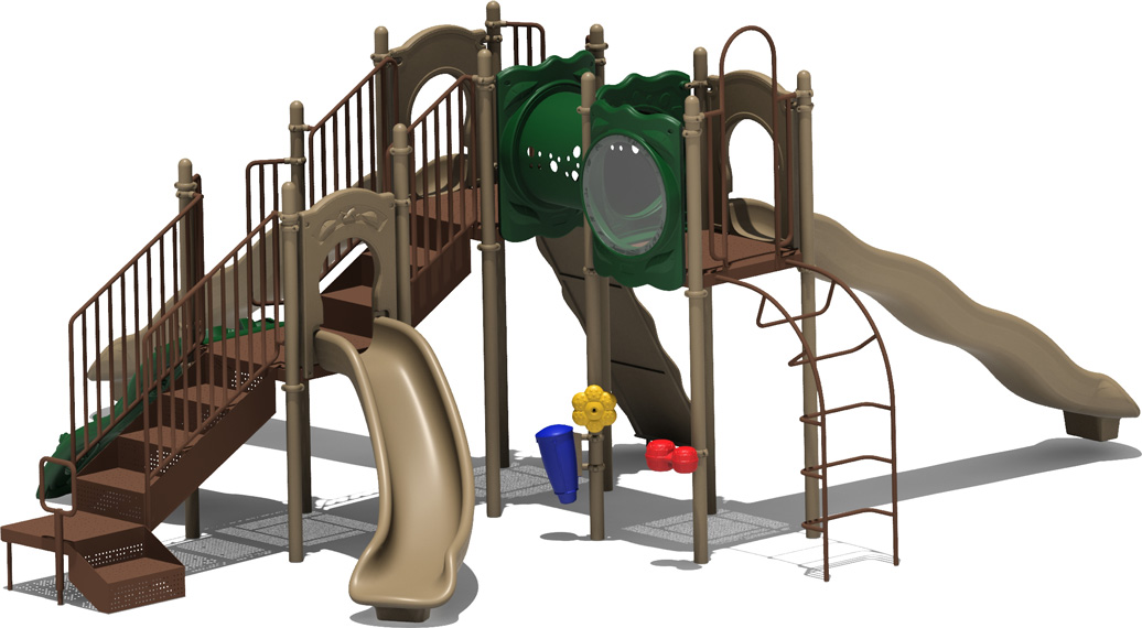 Coconut Garden - Natural Color Scheme - back View - Commercial Playground Equipment