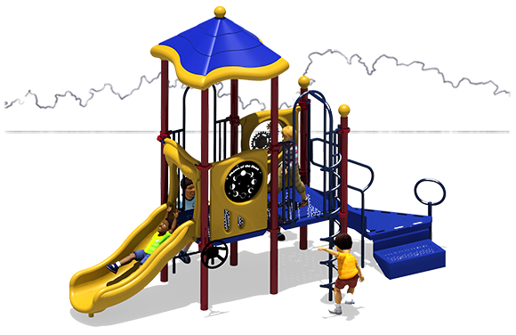 Primary Colors - Front View - Power Play Commercial Play Structure - American Parks Company