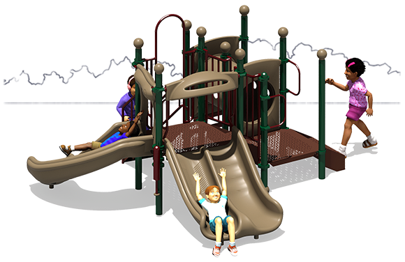 Deuces Wild - Commercial Play Structure - Natural - Front