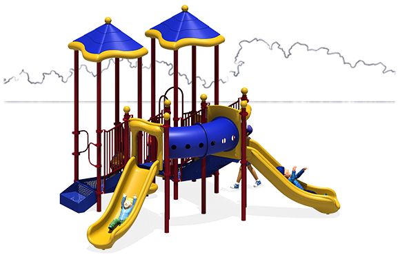 Sweet Spot Commercial Play Structure - Primary Color Scheme - Front