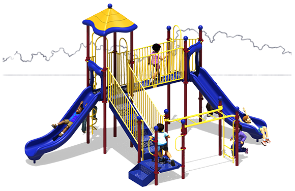 All Across - Commercial Playground Equipment - Primary Color Scheme - Back View