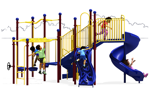All Aboard - Play Structure - Front View - Primary Color Scheme