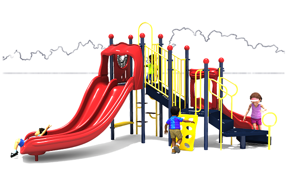Primary Color Scheme - Front View - Kidding Around - Daycare Playground Equipment