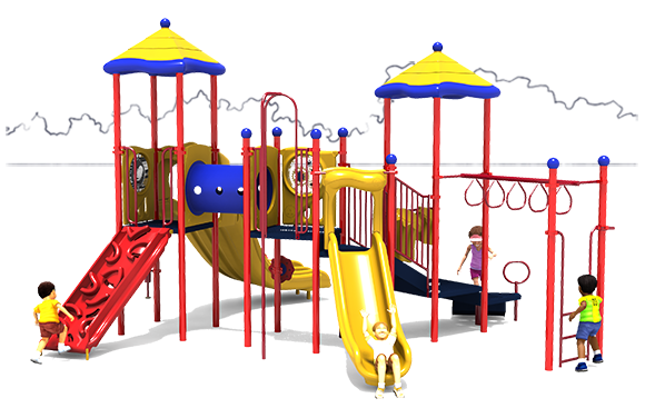 Twist & Shout Play Structure - Primary Colors - Front View