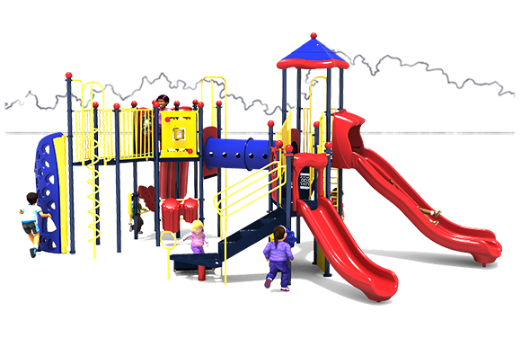 Eagle's Nest Play Structure - Primary Color Scheme - Front View