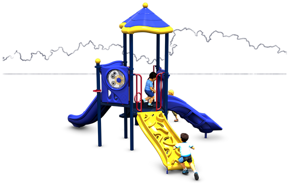 Prim 'n Proper Commercial Play Structure - Primary Color Scheme - Back