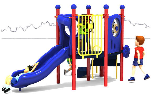 Happy Happy Happy - Commercial Playground Structure - Primary Color Scheme - Front