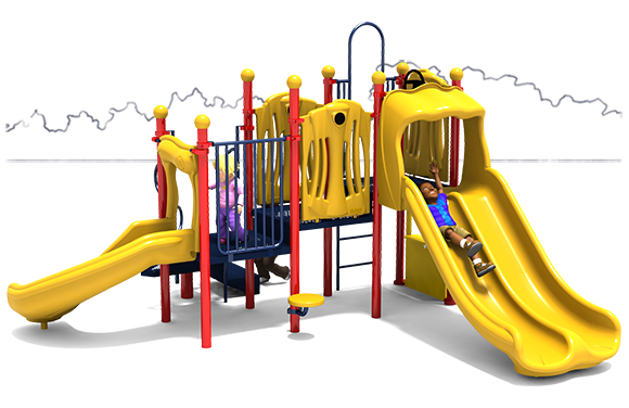 Nick Nack - Commercial Play Structure - Primary Colors - Front View