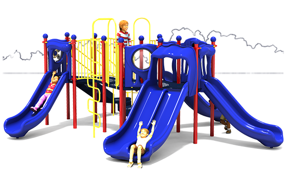 Peek A Boo - Commercial Play Structure - Primary Color Scheme - Front View