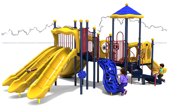 Zig Zag - Commercial Playground Equipment - Primary Color Scheme - Back