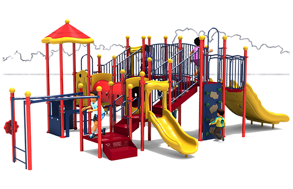 Fort Fun - Commercial Play Structure - Primary Color Scheme - Front View
