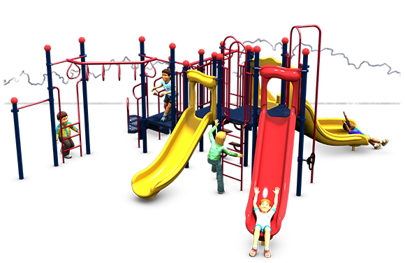 Monkey Maze - Commercial Playground Equipment - Primary Color - Front