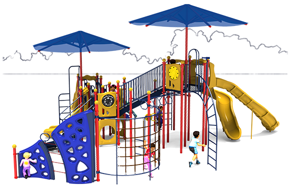 Play Galaxy - Commercial Play Structure - Primary Color Scheme - Front View