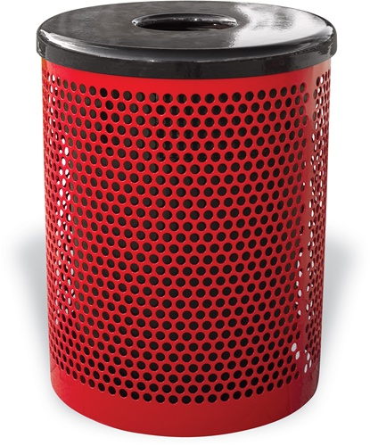 Perforated Metal Trash Receptacle with Lid and Liner
