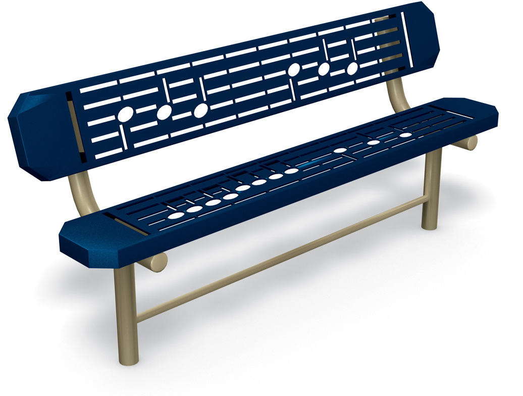 music bench - outdoor playground commercial equipment - bench seating