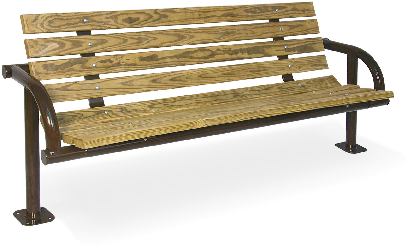 Single-Post Contour Wood Bench