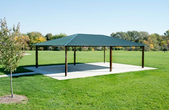 Single Tier Rectangle Steel Shelter Site Furnishings