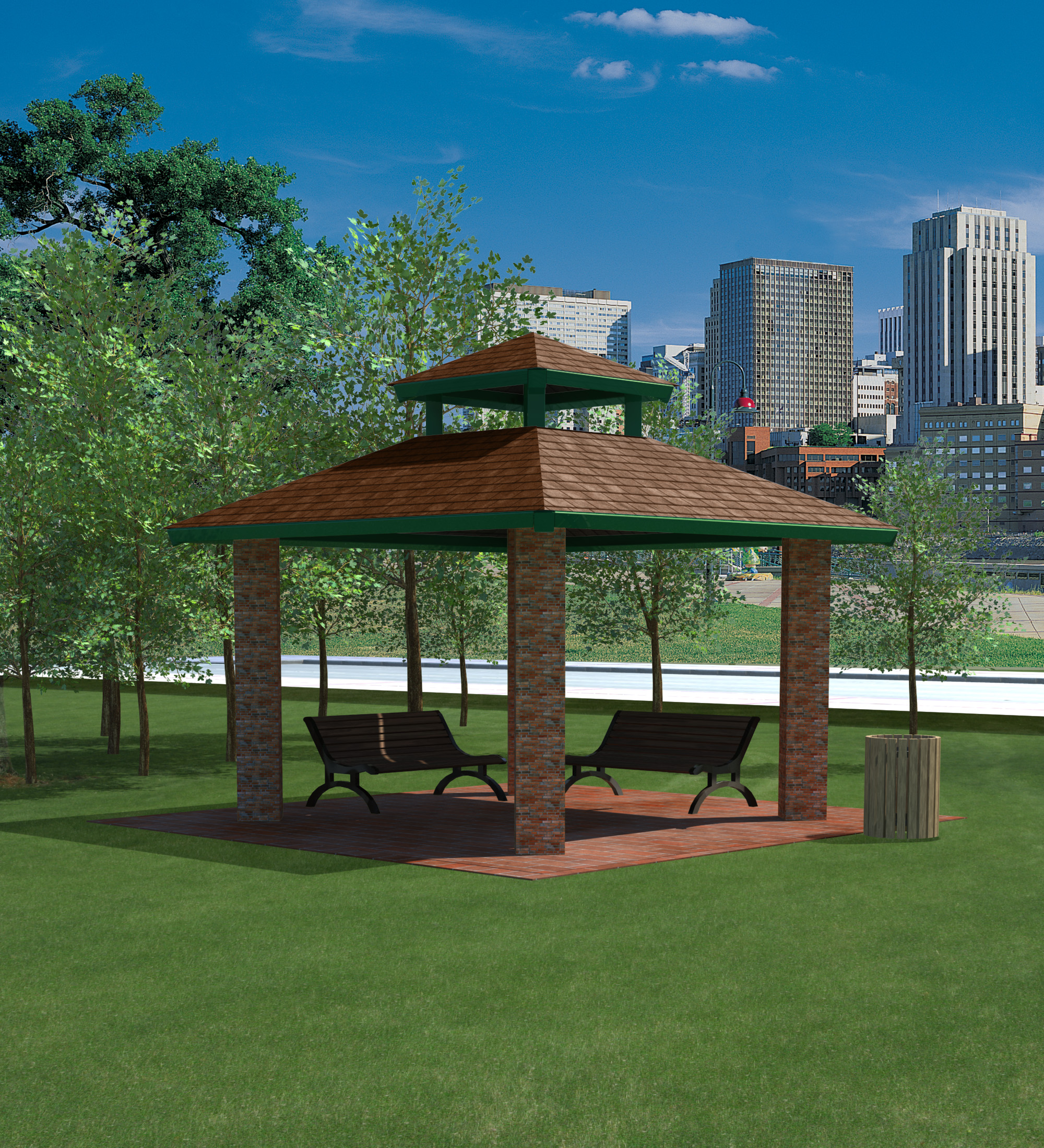 Double Tier Square Steel Shelter