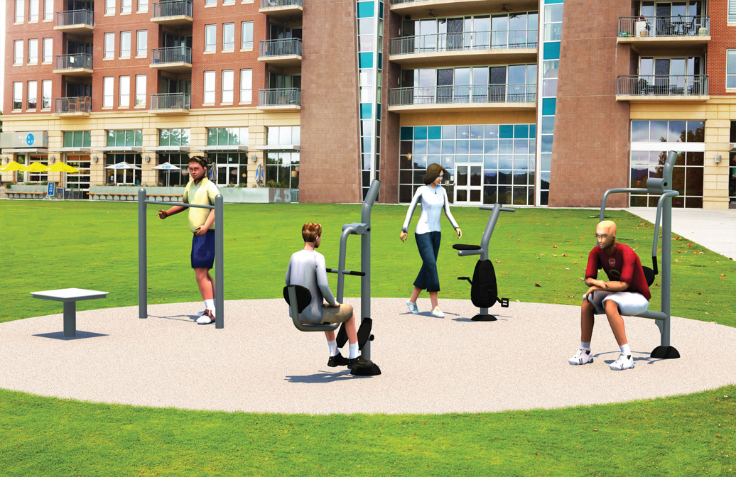 Pocket Fitness Park B - Commercial Outdoor Exercise Equipment - American Parks Company