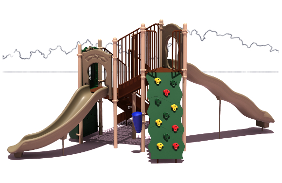 All-Star Budget Playground Equipment - Natural Color Scheme - Front View