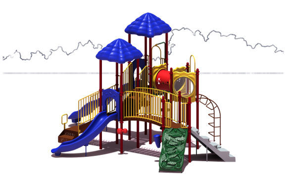 Clingman's Dome Budget Play Structure - Primary Color Scheme - Front View