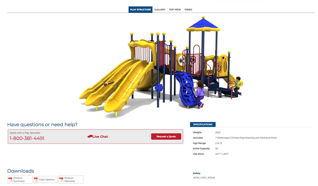 Example of playground specifications on the product page