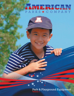 Boy wearing a hat on a playground with the American Parks Company logo